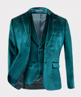View of the blazer jacket and waistcoat from the Boys Tailored Fit Velvet Suit with Elbow Patches in Green