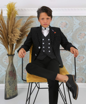 Boy's Polka Dot Slim Fit Suit Formal Jacket in black with accessories front  picture