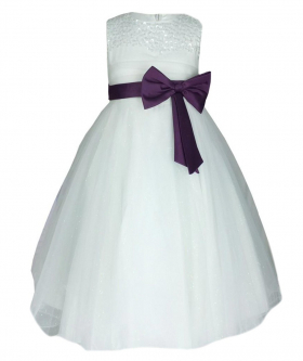 View of the Flower Girls Party Dress With Satin Bow In Ivory & Purple