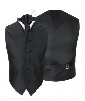 Romano Vianni Boys Black Satin Waistcoat & Adjustable Cravat Set
