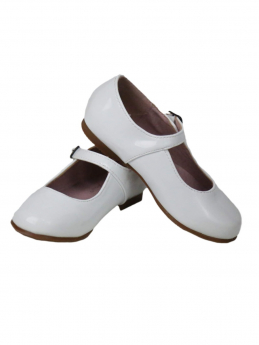 Flower Girls Party Wedding Christening Buckle Fastening White Shoes