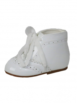 Baby Girls Spanish Romany Style Patent Ribbon Lace up Ankle White Boots