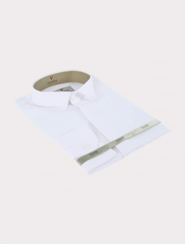 Side view of the Boys Wing Collar Shirt with Stripes in White