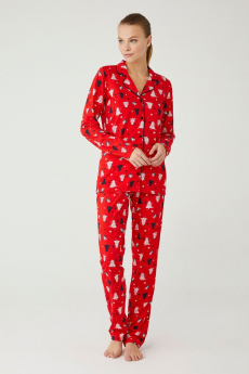Women 2 Piece Jacket-Like Pyjama Set in Red Front Picture