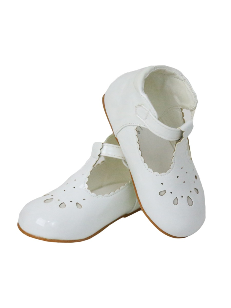 Little girls white shoes flowers wedding size 8 brand new t bar Velcro.